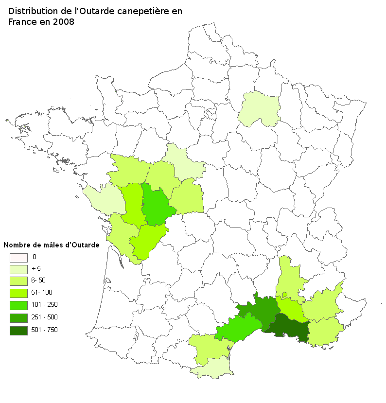 Distribution de l'Outarde canepetière en France en 2008