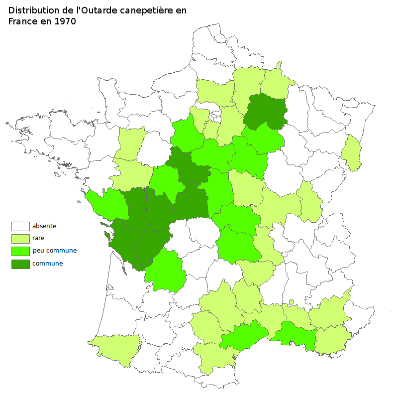 Distribution de l'Outarde canepetière en France en 1970